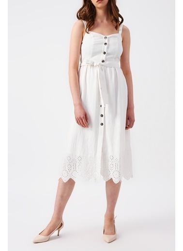 Random Kadın Önden Düğmeli Midi Elbise Beyaz